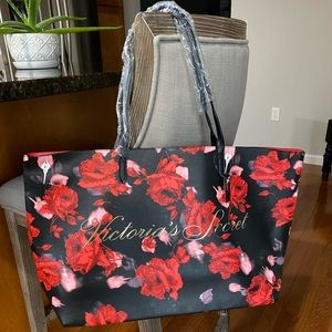 Victoria Secret Black Friday Floral Print Tote Bag